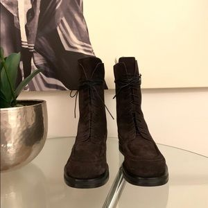 The Row Patty Boots in brown suede